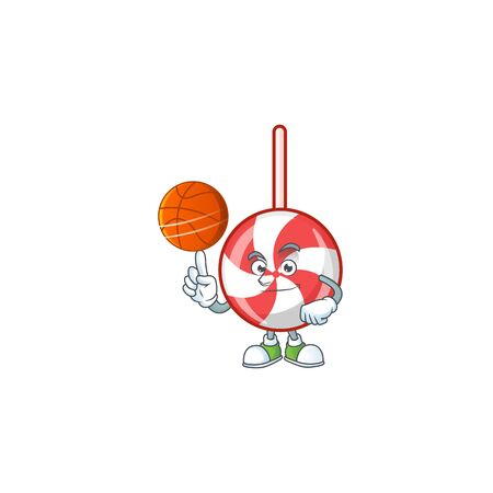 Mascot of striped peppermint candy cartoon character style with basketball. Vector illustration