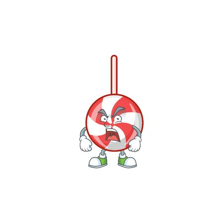 Mascot of angry striped peppermint candy cartoon character design. Vector illustration