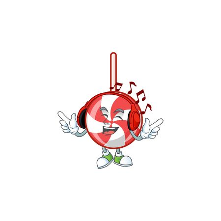 Listening music striped peppermint candy mascot cartoon design style. Vector illustration