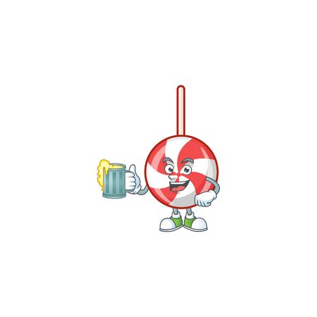 Happy striped peppermint candy holding a glass of beer. Vector illustration