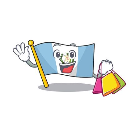 Cheerful flag guatemala cartoon character waving and holding Shopping bag. Vector illustration Illustration