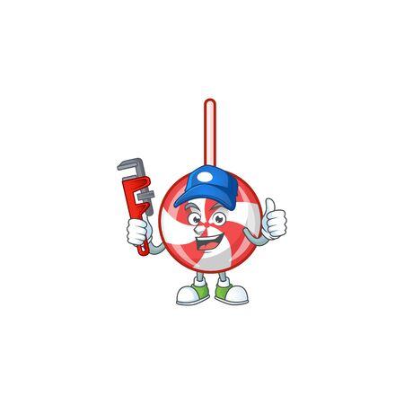 Plumber striped peppermint candy on cartoon character mascot design. Vector illustration Vektoros illusztráció