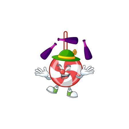 Super cool Juggling striped peppermint candy mascot cartoon style. Vector illustration Vektoros illusztráció