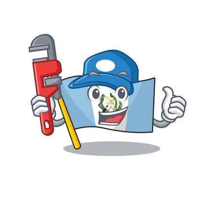 Plumber flag bolivia on cartoon character mascot design 向量圖像
