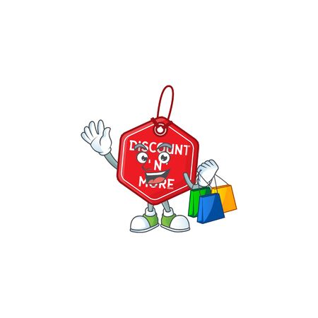 Cheerful christmas discount tag cartoon character waving and holding Shopping bags. Vector illustration