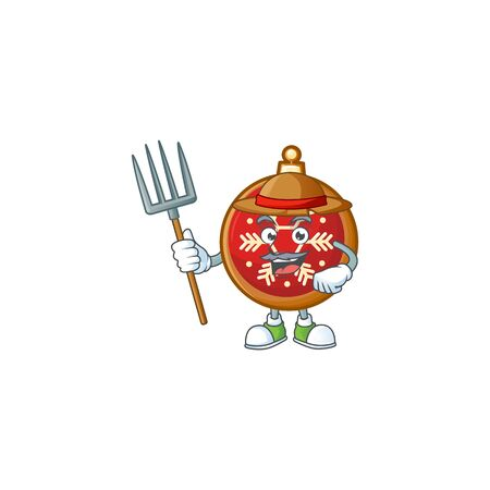 Red christmas ball as farmer cartoon character with hat and tools.
