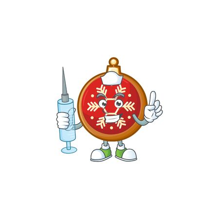 Cute nurse red christmas ball character cartoon style with syringe.