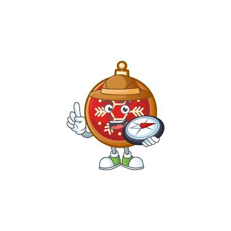 Explorer red christmas ball cartoon character holding a compass. Ilustração