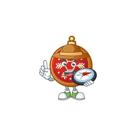 Explorer red christmas ball cartoon character holding a compass. Illustration