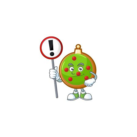 Cartoon style of christmas ball with sign in his hand.