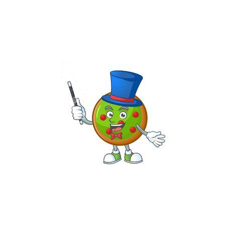 Mascot a magician in christmas ball cartoon.