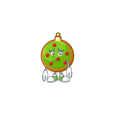 Christmas ball cartoon character showing afraid look face. Ilustração