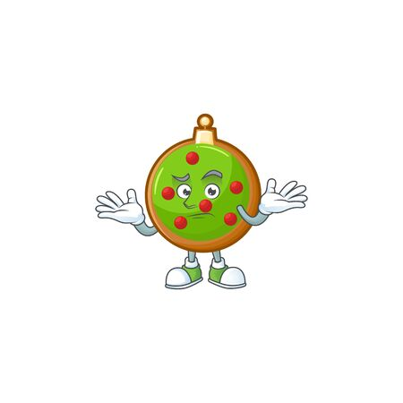 Super cool grinning christmas ball mascot cartoon style.