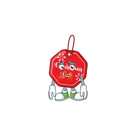 Christmas sale tag Cartoon character showing afraid look face