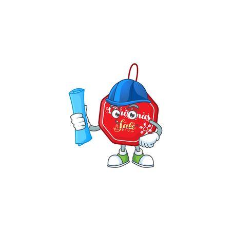 Cheerful Architect christmas sale tag cartoon style holding blue prints