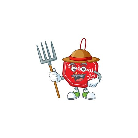 Farmer christmas sale tag cartoon character with hat and tools Stock Illustratie