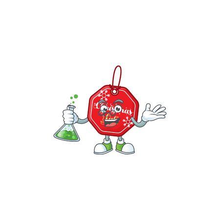 Smart Professor christmas sale tag cartoon character holding glass tube