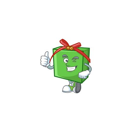 Picture of green gift box making Thumbs up gesture