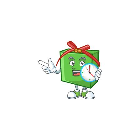 With clock smiling green gift box cartoon mascot style