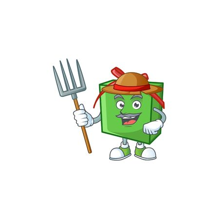 Farmer green gift box cartoon character with hat and tools