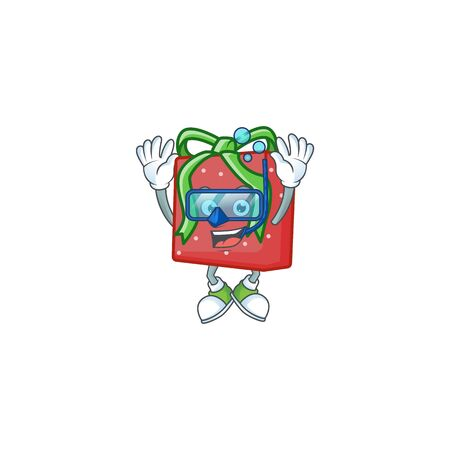 Smiling red gift box cartoon character style wearing Diving glasses