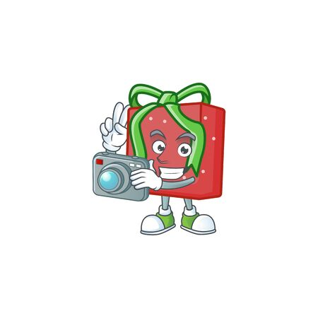 a professional Photographer red gift box cartoon character with a camera