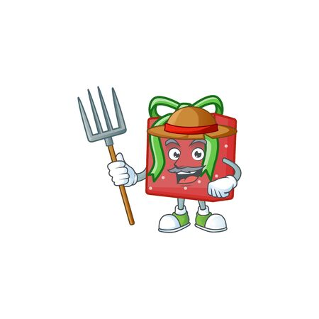 Farmer red gift box cartoon character with hat and tools