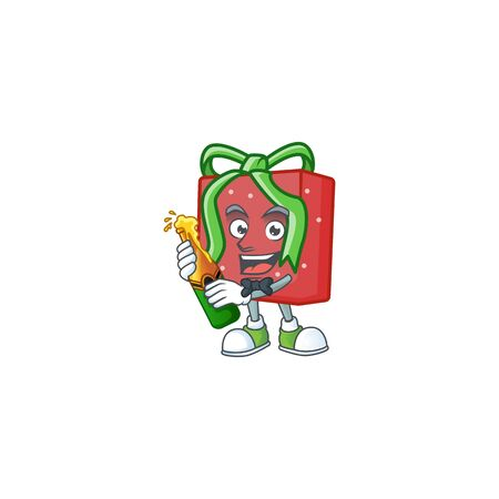 Cool red gift box with beer mascot cartoon style
