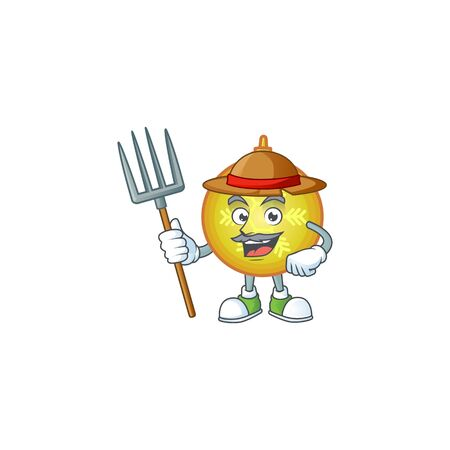 Yellow christmas ball as farmer cartoon character with hat and tools.