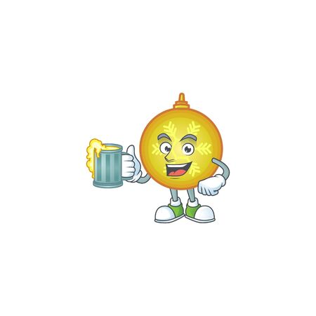 Happy yellow christmas ball holding a glass with juice. Illustration