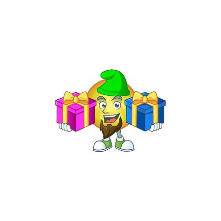 Super cute yellow christmas ball cartoon design with tongue out. Vectores
