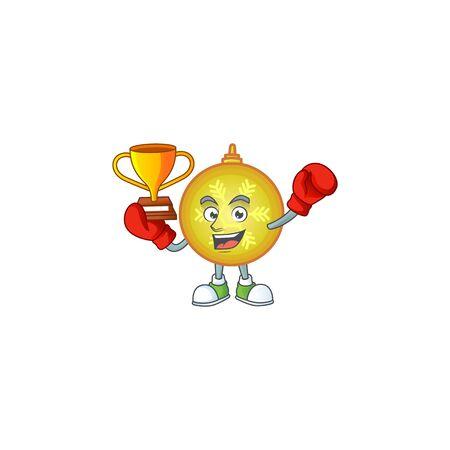 Character boxing winner with yellow christmas ball cartoon. Archivio Fotografico - 134427805