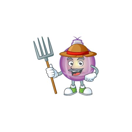 purple christmas ball as farmer cartoon character with hat and tools Иллюстрация