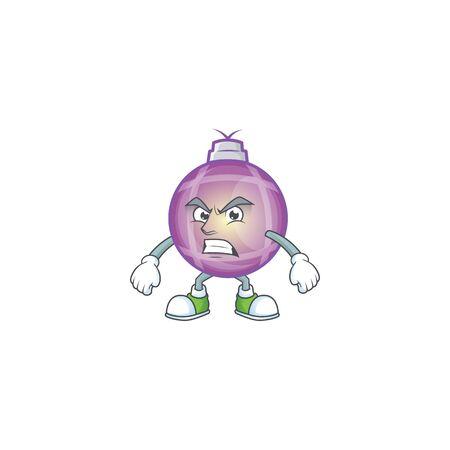 Angry purple christmas ball waving hands cartoon character. Standard-Bild - 134861717