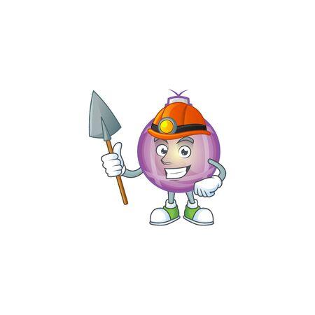Cool purple christmas ball miner cartoon mascot illustration style.