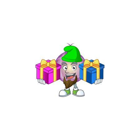 Super cute purple christmas ball cartoon design with gift. Foto de archivo - 134861731