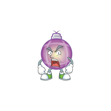 Illustration of angry purple christmas ball mascot vector illustration.