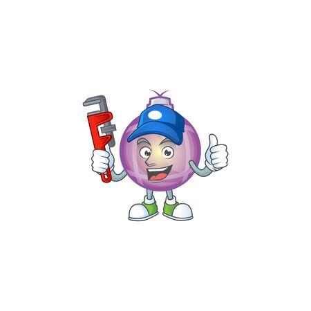 Purple christmas ball cartoon with mascot plumber. Illustration