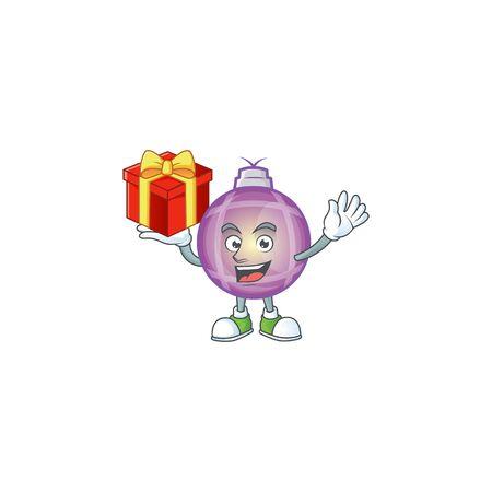 Purple christmas ball cartoon with mascot bring gift. Foto de archivo - 134860907