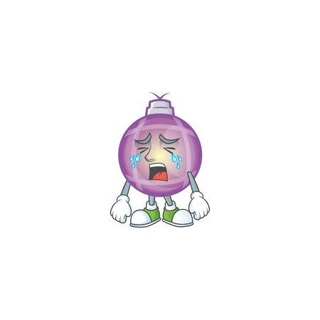 Sad crying purple christmas ball cartoon style vector illustration.