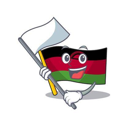 cute flag malawi with flag cartoon character style Ilustrace