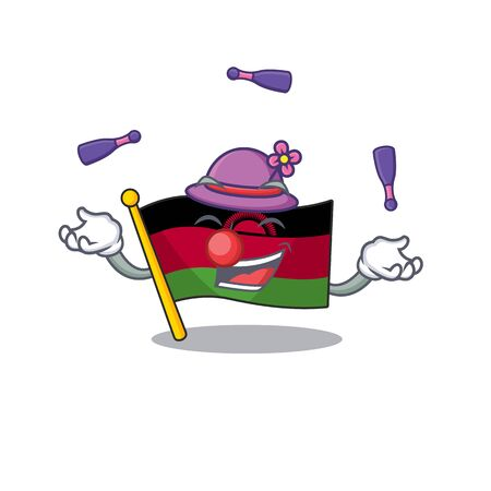 Super cool Juggling flag malawi mascot cartoon style. Vector illustration