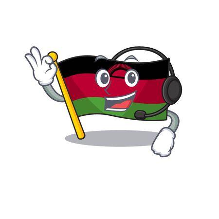 Flag malawi cute cartoon character design with headphone