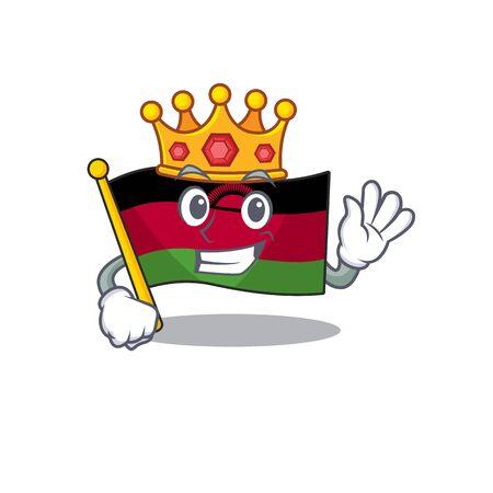 King flag malawi on cartoon character mascot design