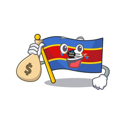 Cute flag swaziland cartoon character smiley with money bag. Vector illustration