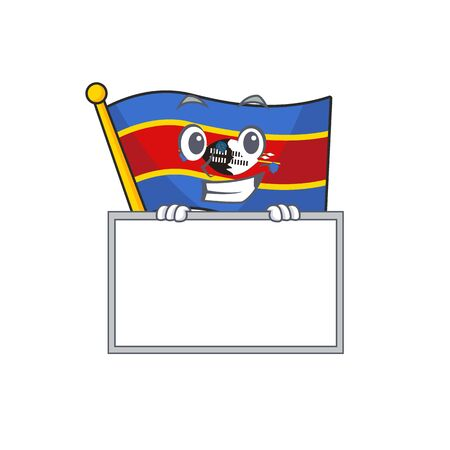 Grinning with board flag swaziland cartoon character style