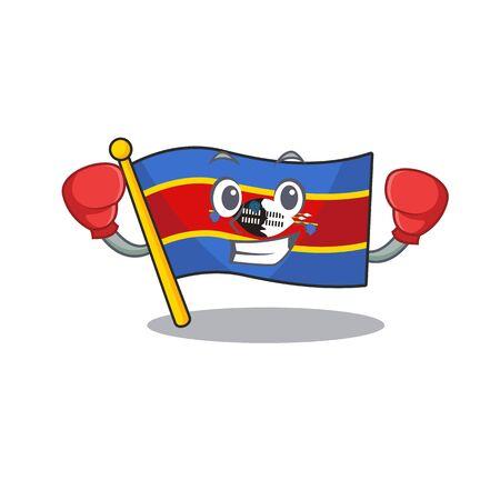 Funny Boxing flag swaziland cartoon character style. Vector illustration Archivio Fotografico - 134477899