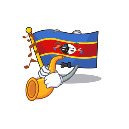 Super cool flag swaziland cartoon character performance with trumpet. Vector illustration 일러스트