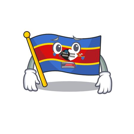 Flag swaziland Cartoon character showing afraid look face. Vector illustration