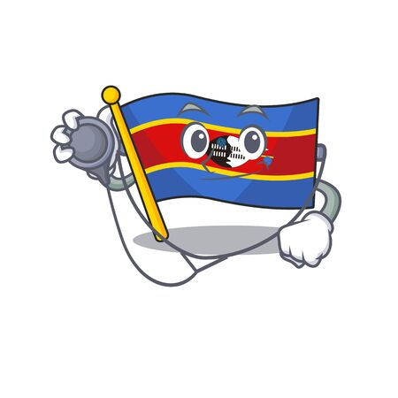 Flag swaziland cartoon mascot style in a Doctor costume with tools. Vector illustration